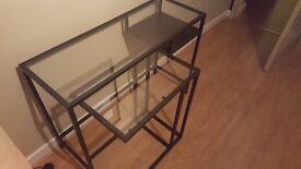 Set of 2 modern glass tables (side board/ table/laptop desk style)