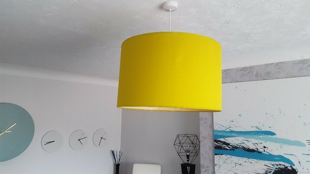 Large silk finish lampshades excellent condition. Fashionable ochre / lime green colour.