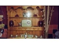 Large solid carved pine wall plate rack with draws £19.99