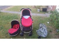 I candy strawberry complete set with changable covers for carry cot &drinks holder and rain cover