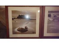 Two large dark wood framed sepia prints