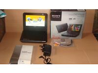 "Sony Portable DVD Player 7"" USB Playback MP3 JPEG XVID Rechargeable"