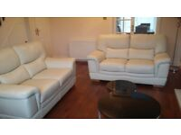 Cream leather sofa (2x 2 seaters) Nearly.new