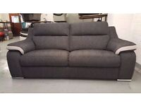 Display Item SiSi ITALIA MATTEO AMALIA CHARCOAL & SILVER FABRIC 3 Seater (2 AVAILABLE) CAN DELIVER