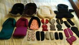 Pram, pushchair, stroller newborn head huggers, and strap pad sets