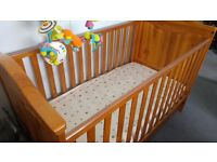 Tutti Bambini Jake Cot Bed With Drawer in Antique Pine plus Cot Mobile