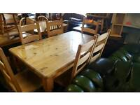 Heavy Solid Pine Table and Chairs