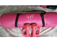 Ladies mat and weights
