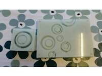 Set of glass table mats and coasters