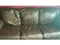 2&3 dark brown leather settees