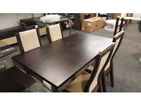 Oak Dining Table With Nickel Legs & 4 Chairs