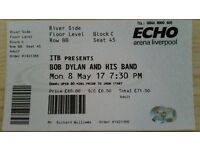 Bob Dylan Ticket Echo Arena 8th May - very good seat in front stalls