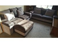 2 x 3 seater and foot stool