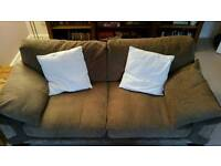 Brown Fabric 4 + 3 seater sofas SCS