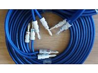 KnuKonceptz Kord Blue Speaker Wire 12 Feet +8 Silver Pailiccs bananas plugs
