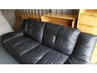 Black Italian Leather Sofa - Less than 1 year old ** good condition