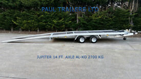 NEW CAR TRANSPORTER TRAILER 4m X 2m 2700 GVW/ 10 INCH WHEELS/ 2,5M LONG RAMPS