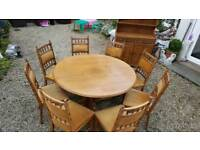 Vintage solid Oak table and chairs