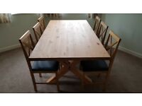 Dining Table & 6 Chairs - Solid Wood - Like New and unmarked