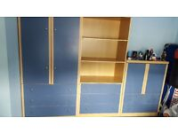 Boys Bedroom suite , 3 separate units -Beech and Blue, Absolute bargain at £120