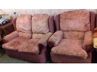 2 SEATER SOFA & TWO CHAIRS. Dusky pink patterned velour. I've bought a new one.