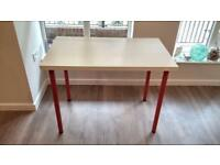 IKEA desk White top red legs