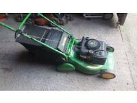 john deere, r43, self drive, rear roller, petrol lawn mower
