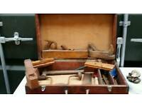 Antique carpenters tool box with full content (4)