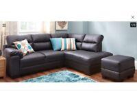 Black leather corner sofa & footstool
