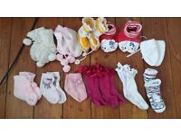 BABY BUNDLE NEWBORN 0 - 9 MONTHS BUNDLE SOCKS SLIPPERS CLASSIC RUSSIAN BOOTIES HELLO KITTY HANDMADE