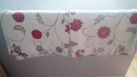 90 x 90 inches red/beige poppy style lined curtains