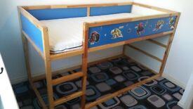 Ikea Kura Reversible Bed With Mattress & Canopy