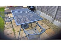 garden table and chairs metal