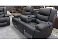 3+2 Black Leather Recliner with Drinks Holder