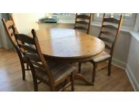 Extendable wooden table with 5 chairs