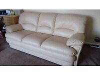 Large Cream Leather Sofa & Matching Armchair