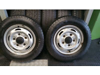 19570 15 C 2 tyres A-threea Effitrac + 2 x steel wheels Ford Transit