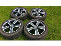 Alloy wheels - Mak Fuoco 5 Ice Titan, 8Jx18 EH24. Set of 4 with tyres. 1 with minor surface damage