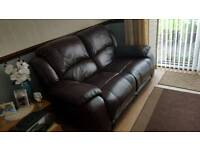 Harveys brown leather sofa