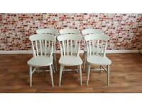 Six New Beech Farrow and Ball Painted Dining Chairs Farmhouse Slat Back - Delivery Available