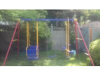 Childrens Swing Set, has double seat swing, single swing and double seat gondola. Made by Ketler