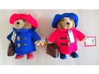 NEW PAIR ORIGINAL PADDINGTON BEAR SMALL SOFT TOYS Blue & Red Case Hat Boots CE STANDARD CERTIFIED