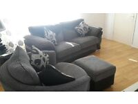 3 seater full back sofa, swivel cuddler chair and foot storage stool