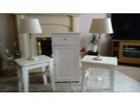 White Lamp Tables x 2 plus white cabinet plus 2beige and cream lamps. All in very good condition