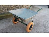 Large Galvanised wheelbarrow twin puncture proof wheels
