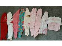 Baby girls sleepsuits and vests