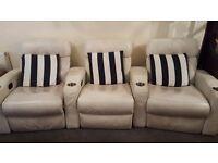 3 reclining cinema sofa seats with drinks holder