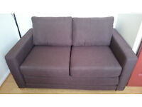 John Lewis Small Double Sofa Bed, with Chocolate Colour Fabric & Light Wooden Legs
