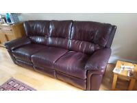 BROWN LEATHER RECLINING SOFAS, ONE 3 SEATER AND ONE TWO SEATER