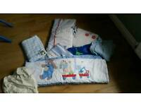 Baby boys cot bedding free to a good home various items pick up only
